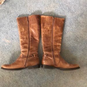 Brown leather knee-high boots